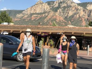 Shoppers in uptown Sedona.